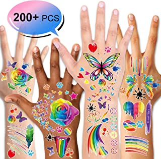 200+ Pieces Rainbow Temporary Tattoos, Konsait Butterfly/Flower/Heart/Rainbow Tattoos Waterproof Body Art Sticker for Girls Boys Birthday Party Favors Pride Equality Parades Celebrations
