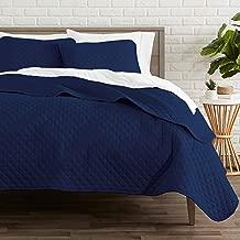 Bare Home Premium 3 Piece Coverlet Set - King Size - Diamond Stitched - Ultra-Soft Luxurious Lightweight All Season Bedspread (King, Dark Blue)
