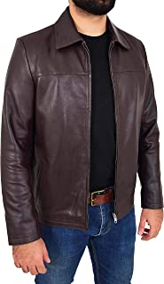 Mens Real Leather Zip Box Jacket Harrington Classic Casual Style James Brown