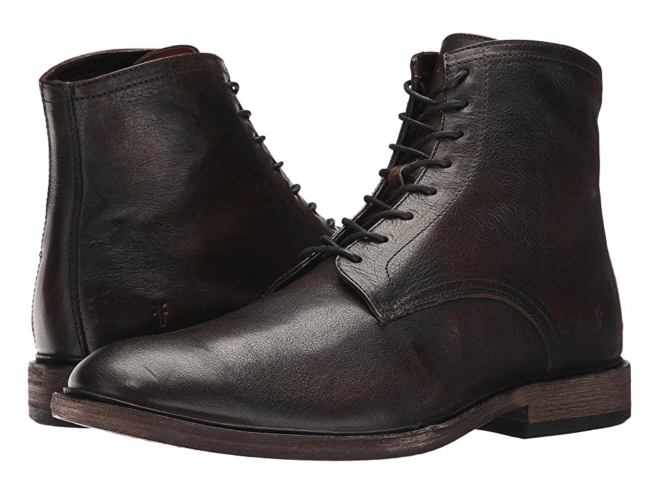 1920s Style Mens Shoes | Peaky Blinders Boots Frye Chris Lace-Up Cognac Full Grain Brush-off Mens Boots $328.00 AT vintagedancer.com