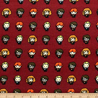 Camelot Fabrics Harry Potter Lined Up Kawaiis Bamboo Flannel Burgundy Fabric by The Yard