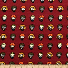 Harry Potter Lined Up Kawaiis Bamboo Flannel Burgundy Fabric by the Yard