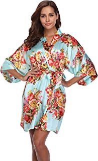 Women's Short Floral/Pure Satin Kimono Robes for Bridal Party Wedding Gowns Getting Ready Bathrobe W/Pockets