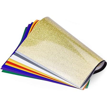 14 hojas de Vinilo de transferencia de calor para tela Papel de vinilo textil para camisetas ropa bolsas y otros tejidos funciona con silueta Cameo ...