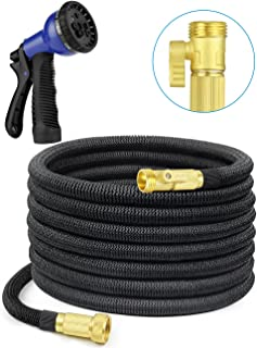 SHINE HAI 50ft Expanding Hose with 8 Functions Sprayer, Expandable Garden Hose with Strongest TPS, Solid Brass Connector Fitting, Extra Strength Fabric Garden Hose Nozzle