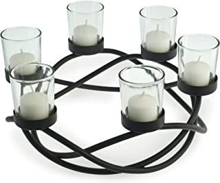 Danya B KF102 Decorative Indoor/Outdoor Round Waves Metal Wrought Iron Candleholder/Centerpiece