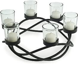 Danya B KF102 Decorative Indoor/Outdoor Round Waves Metal Wrought Iron Candleholder/Centerpiece