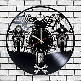 Olha Art Design Bikers HANDMADE Vinyl Record Wall Clock – Perfect gifts for birthday wedding anniversary valentine's mother's father's day - Gift ideas for men and women him and her