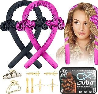 2 PCS OUBA Tik Tok Heatless [Hair Curlers] For Long Hair, No Heat DIY Hair Styling Tool Flexi Rod Headband Silk Curls, Sof...