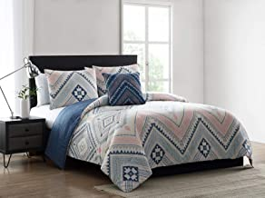 Morgan Home 4 Piece Comforter Set – Set Includes Comforter, Sham(s) & Decorative Pillow – Available in Tribal, Geometric, Stripe and Floral Prints (Blue/Pink, Twin)