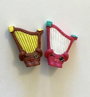 2016 Shopkins Season 5 Music Set of 2- Brown/Yellow Hillary Harp #5-039 & Pink/White Hillary Harp #5-047