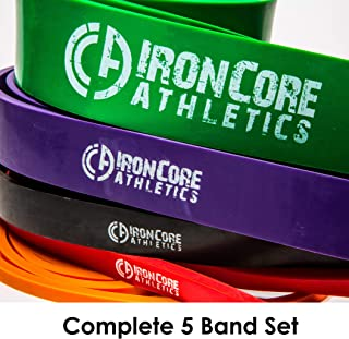 "Iron Core Athletics Pull Up Assistance Band Pack - Set of 5 Heavy Duty 41"" Loop Bands for Pull-Up Assist - #1 Orange #2 Red, 3 Black, 4 Purple, 5 Green – Provides 5 – 300lbs Resistance/Assistance"