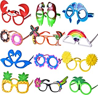 12 PCs Luau Party Glasses, Hawaiian Funny Glasses for Summer Party Supplies, Kids Party Favors