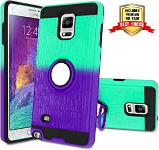 Galaxy Note 4 Case, Note 4 Phone Case with HD Screen Protector,Atump 360 Degree Rotating Ring Holder Kickstand Bracket Cover Phone Case for Samsung Galaxy Note 4 Mint/Purple