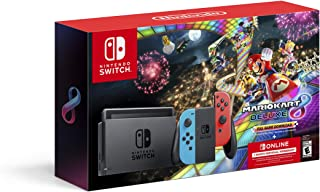 Nintendo Switch with Neon Blue & Neon Red Joy-Con + Mario Kart 8 Deluxe (Full Game Download) + 3 Month Switch Online Membe...
