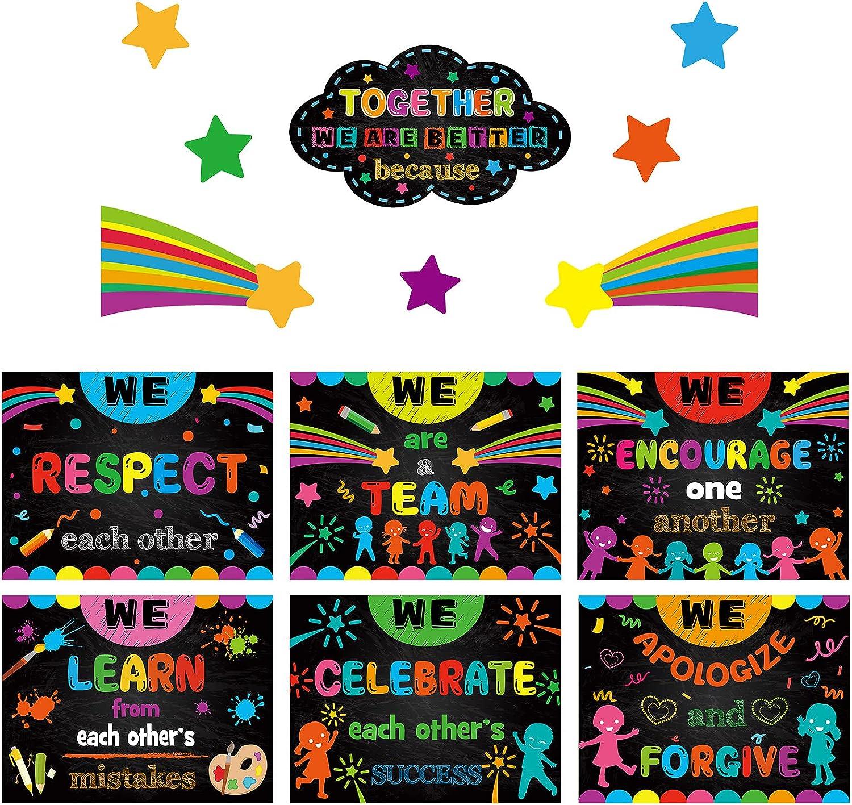 14 Pieces Growth Mindset Classroom Banner Inspirational Bulletin Board Poster Motivational Educational Classroom Decor Colorful Mindset Motivational Wall Banners for Teacher Student School Education