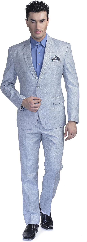 LUXURAZI Men's Bluish Linen Blended Suit