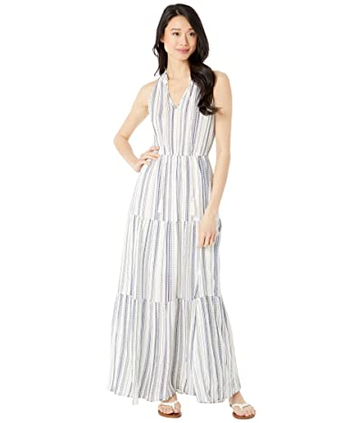 American Rose Britta Keyhole Striped Maxi Dress (Natural/Navy) Women