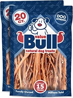 ValueBull Lamb Pizzle Sticks, 6-9 Inch, 40 Count, Natural Dog Treats - Grass Fed, USDA/FDA-Approved