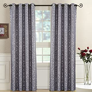 Royal Bedding Tuscany Gray Panels, Top Grommet Abstract Jacquard Textured Window Curtain Panel, Set of 2 Panels, 52x63 Inches Each