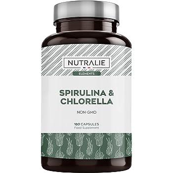 Integratore nutralie di spirulina & clorella detox 1800mg, 180 capsule NUTSPI180