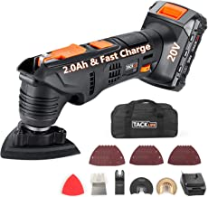 TACKLIFE Oscillating Tool, 20V Max Cordless Multifunctional Tool, 2.0Ah Lithium-Ion Battery, 1 Hour Fast Charge, 6 Variabl...