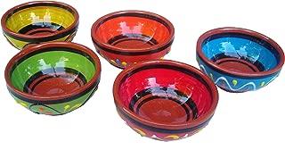 Cactus Canyon Ceramics Spanish Terracotta 5-Piece Super Small Mini-Bowl (Pinch Bowls) Set, Multicolor