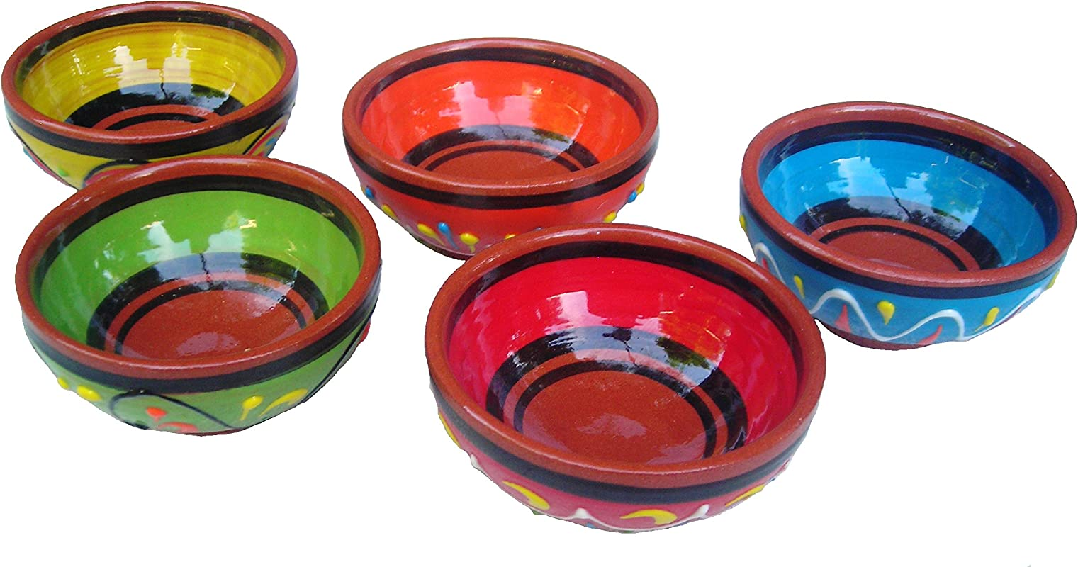 Cactus Canyon Ceramics Terracotta Super Small Mini Bowl Set Of 5 Pinch Bowls Hand Painted From Spain