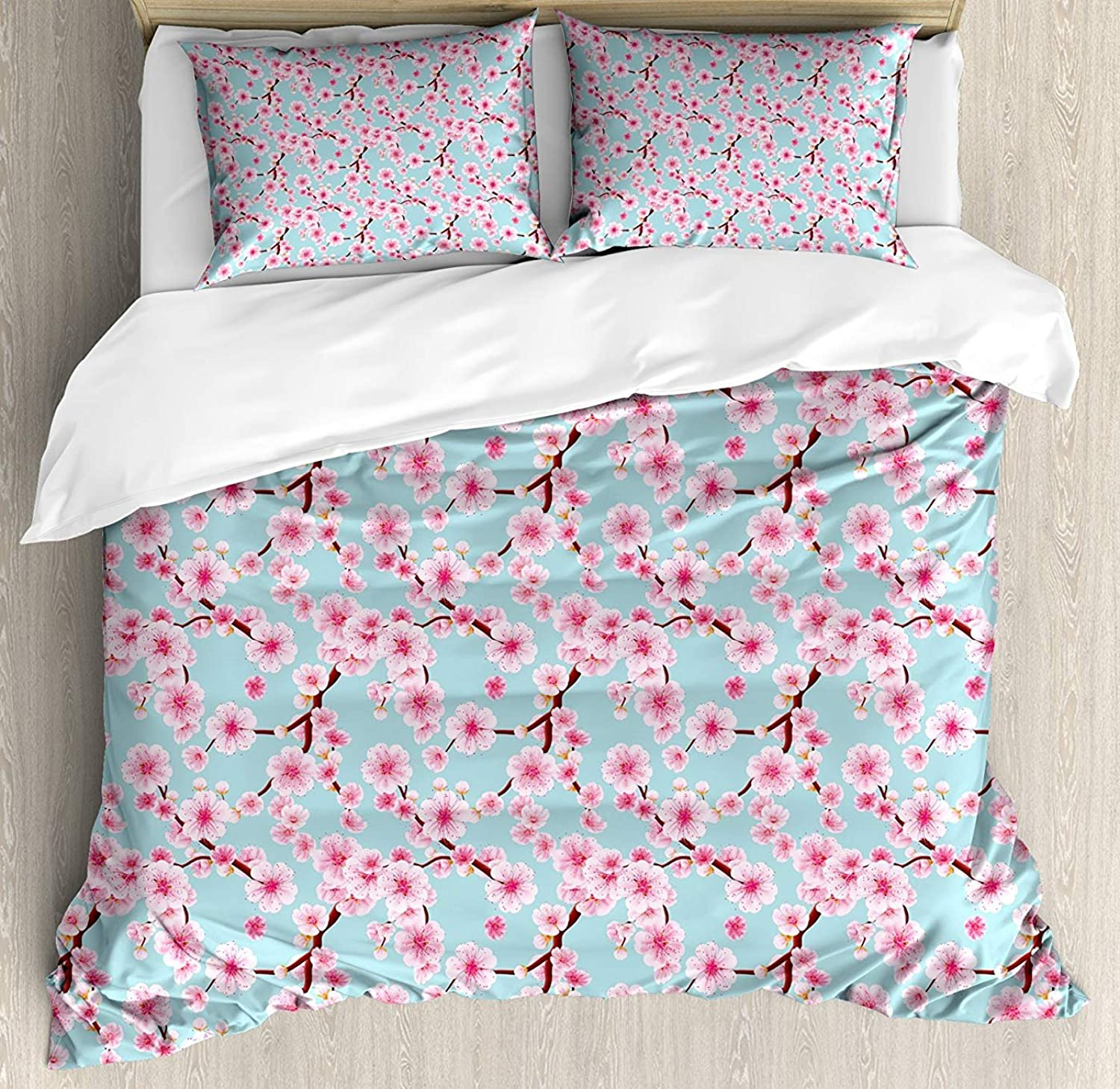 Cherry Blossom Duvet Cover Set Full Size, Inspirational Seasonal Flower Garden Arrangement in Pastel color,Lightweight Microfiber Duvet Cover Sets, Pale bluee Redwood Pink