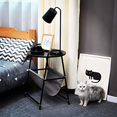 BestRoyal Round Wood Side Table with Steel Fram...