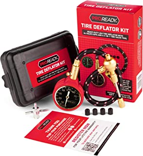 PROREADY Tire Deflator, 4x4 Brass Gauge, Analog, 0-75 PSI - Accurate, Heavy-Duty Air Pressure Gauge with Plastic Case - Easy-to-Read, Handheld Tire Valve Tool for Deflating - Car Maintenance Kit
