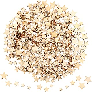 400 Pieces Mini Wooden Stars Slices Mixed Size Wooden Star Embellishments Wooden Star Shape Tags for Christmas Wedding Party DIY Crafts Table Scatter Decoration