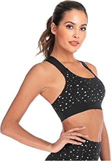 Womens Polka Dot Bras Seamless Breathable Sports Cross Back Sexy Running Yoga Gym Bra