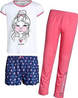 bebe Girls' 3-Piece Pajama Sleepwear Set with Short Sleeve Top, Shorts, and Pants