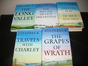 6 Book Set by John Steinbeck~The Long Valley/The Grapes of Wrath/Of Mice and Men/Travels with Charley/Tortilla Flat/The Wi...