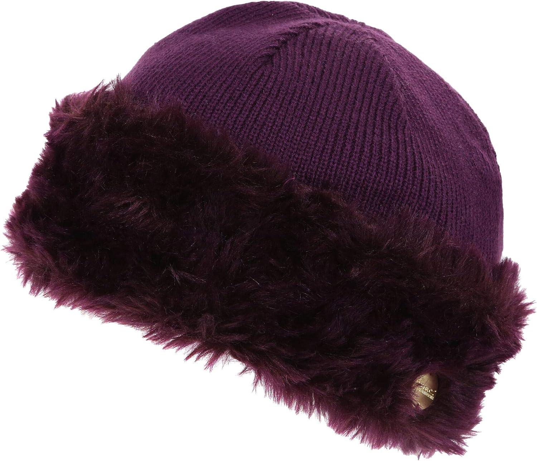 Regatta Womens Ladies Luz Fur Trim Max 44% Under blast sales OFF Cotton H Jersey Winter Beanie