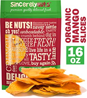 Sincerely Nuts Dried Organic Mango Slices (1 LB)- Gluten-Free Food, Vegan, and Kosher Snack-Nutritious and Satisfying Tropical Fruit-High in Vital Nutrients-Healthy Alternative for Sweet Tooth