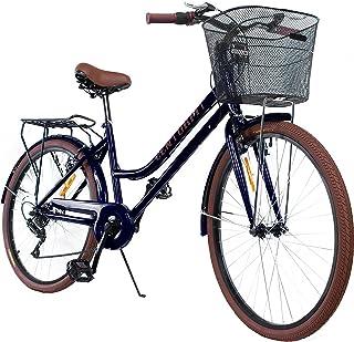 Centurfit Bicicleta Estilo Vintage Retro Clasica Urbana 6 Velocidades Rodada 26 con Canastilla Salpicaderas Frenos V.Break...