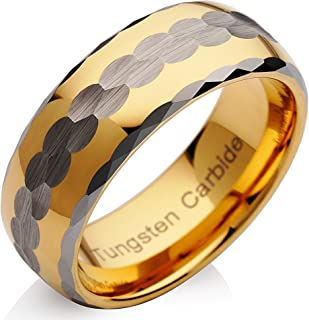 100S JEWELRY Tungsten Mens Wedding Band Two Tone Gold Silver Hammer Finish Facet Cut EDG Size 6-16