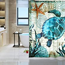 Keador Sea Turtle Shower Curtain, Ocean Animal Landscape Shower Curtain, Durable Fabric Waterproof Washable Polyester Turt...