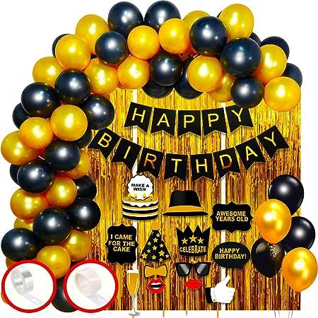 Party Propz Happy Birthday 69 Pcs Golden Black Items Set with 3 Pcs Golden Foil Curtain, 50 Pcs Metallic Balloons, 1 Set Golden Happy Birthday Foil Balloon Decoration Kit Combo