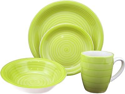 Lorren Home Trends 16-Piece Stoneware Dinnerware Set, Green