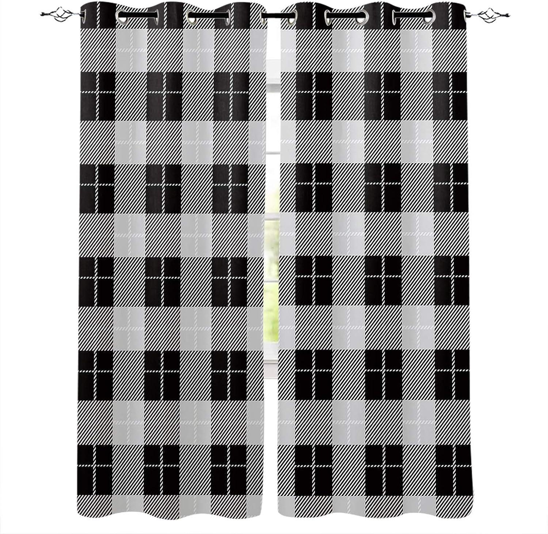 San Francisco Mall Blackout Curtain Panels Black White Buffalo Plaid Check Gingham Ranking TOP6