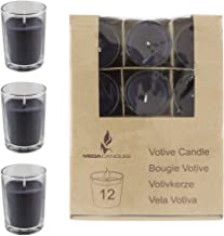 Mega Candles - Unscented Votive Glass Container Candle - Black, Set of 12