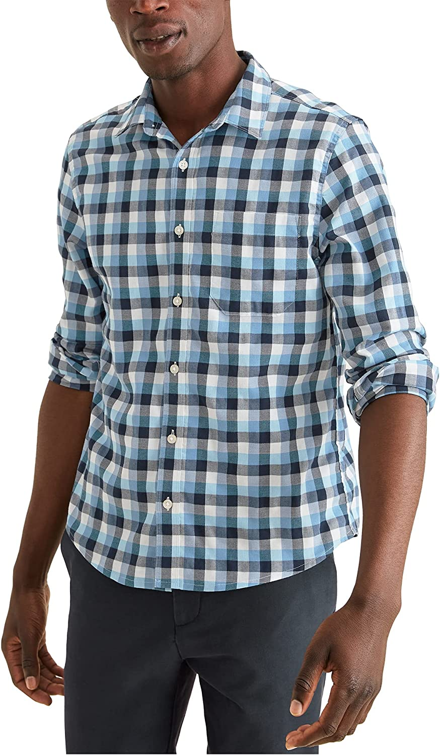 Dockers Men's Long Button-Front Ranking TOP16 Save money Sleeve Shirt