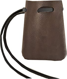 Leather Drawstring Medicine Pouch/Necklace-Medieval Reenactment Pouch-DK. BRMed