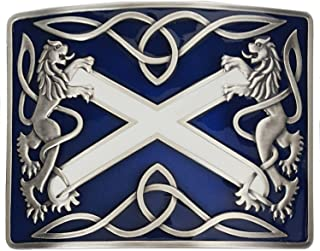Saltire Blue Antiqued Kilt Belt Buckle - Made in Scotland