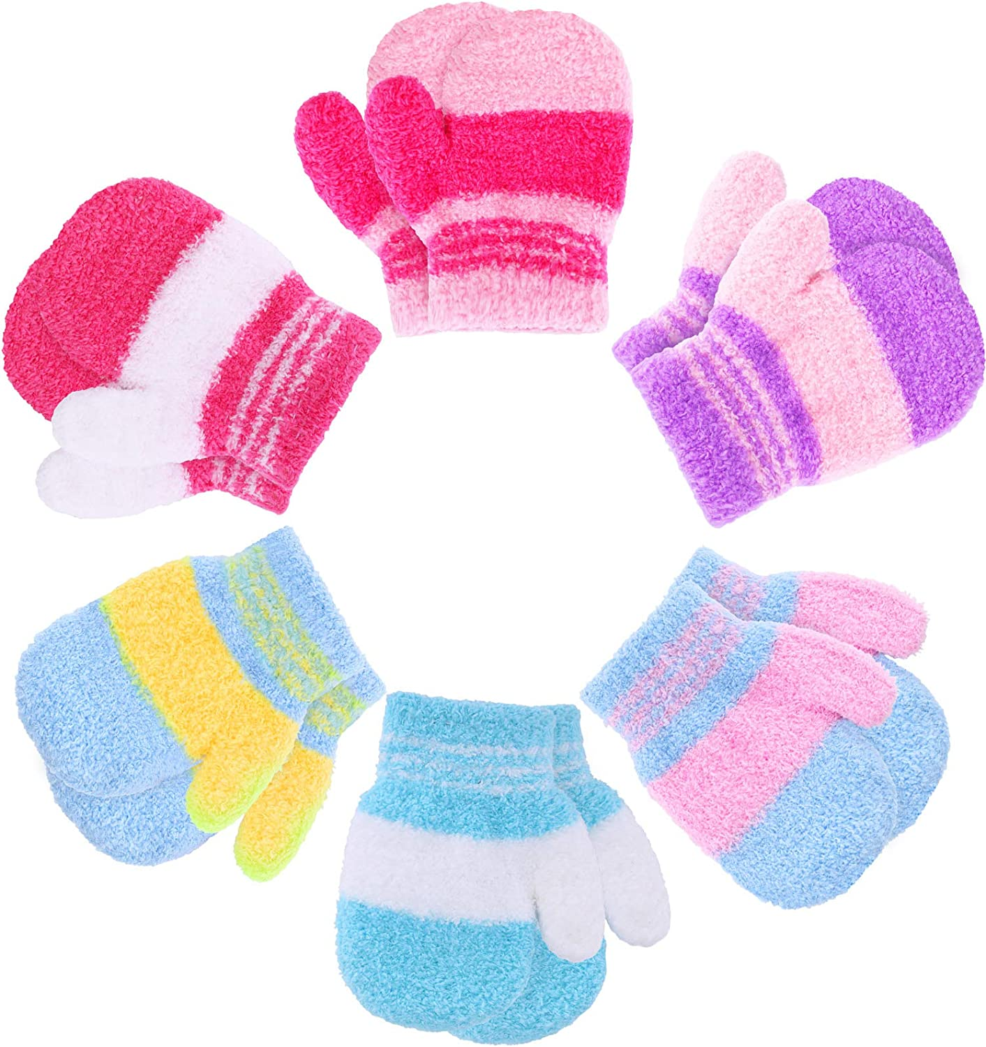 6 Pairs Toddler Winter Knitted Gloves Full Finger Mittens Baby Soft Fluffy Gloves (1-3 Years Size)