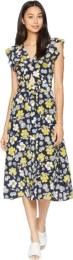 Silk Garden Floral Midi Dress
