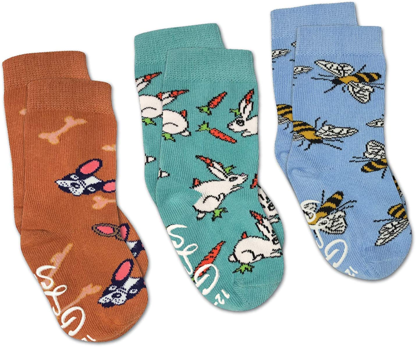 Bees, Bunnies and Dogs Kids Toddler Socks, 3-Pack